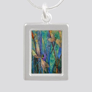 DRAGONFLIES Silver Portrait Necklace