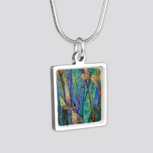 DRAGONFLIES Silver Square Necklace