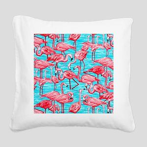 Flamingos Square Canvas Pillow