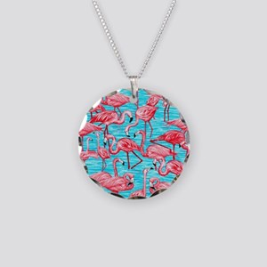 Flamingos Necklace Circle Charm