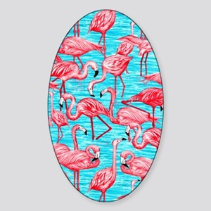 Flamingos Sticker (Oval)