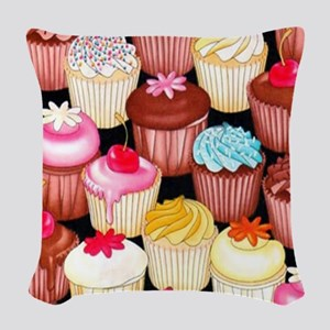 yumming cupcakes Woven Throw Pillow