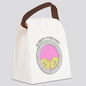 PortholeTwins_blacktext Canvas Lunch Bag