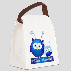Happy Hanukkah Owls Canvas Lunch Bag