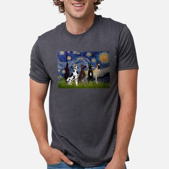 Starry Night & 4 Great Danes Ash Grey T-Shirt