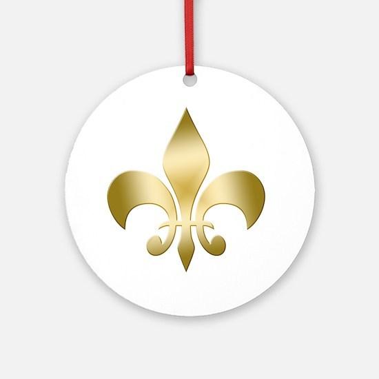 Fleur Gold Round Ornament