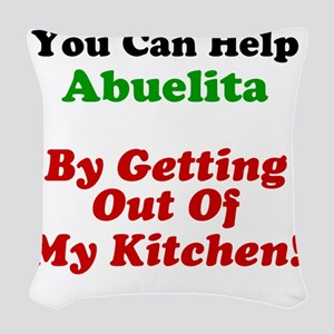 Abuelita Out Of My Kitchen Woven Throw Pillow