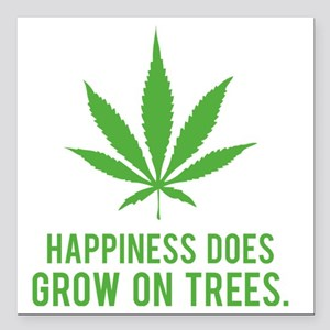 """weedLeafHappiness2 Square Car Magnet 3"""" x 3"""""""