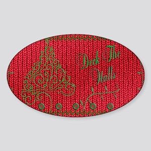 Knit_Red_DeckTheWalls_sholderBag Sticker (Oval)