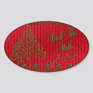 Knit_Red_DeckTheWalls_clutch Sticker (Oval)