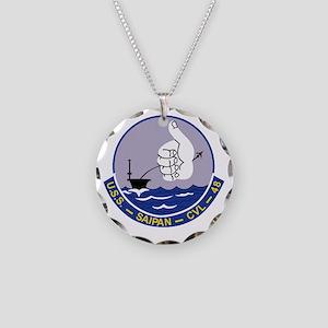 CVL-48 A USS SAIPAN Multi-Pu Necklace Circle Charm