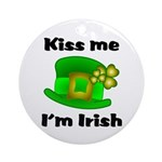 Kiss Me I'm Irish Hat Ornament (Round)