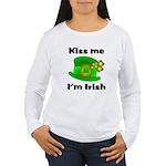 Kiss Me I'm Irish Hat Women's Long Sleeve T-Shirt