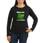 Kiss Me I'm Irish Hat Women's Long Sleeve Dark T-
