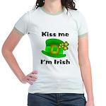 Kiss Me I'm Irish Hat Jr. Ringer T-Shirt