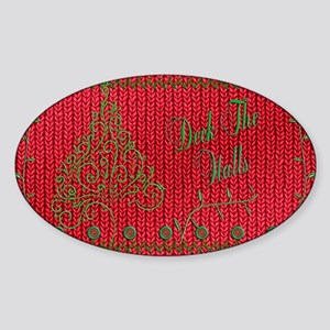 Knit_Red_DeckTheWalls_toiletry Sticker (Oval)