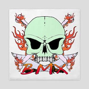 Green bmx skull flame Queen Duvet