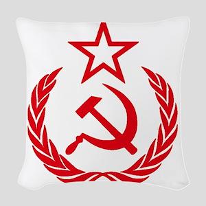 hammer sickle red Woven Throw Pillow