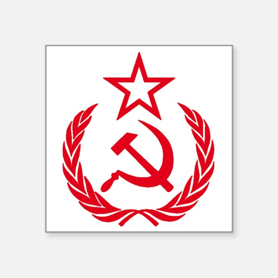 "hammer sickle red Square Sticker 3"" x 3"""