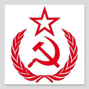 """hammer sickle red Square Car Magnet 3"""" x 3"""""""