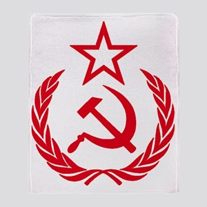 hammer sickle red Throw Blanket