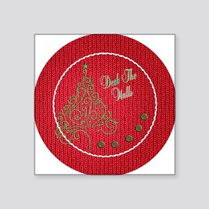 "Knit_Red_DTH_cir Square Sticker 3"" x 3"""