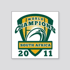 "Rugby ball South Africa Wor Square Sticker 3"" x 3"""
