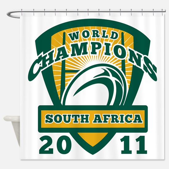 Rugby ball South Africa World Champ Shower Curtain