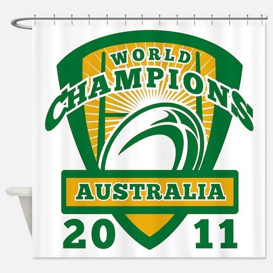 Rugby ball Australia World Champion Shower Curtain