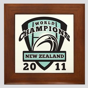 Rugby ball New Zealand World Champions Framed Tile