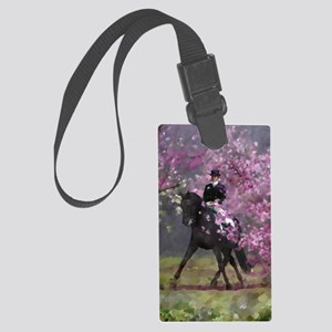 dressage horse 8x11 Large Luggage Tag