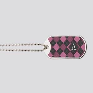 Argyle Plaid Monogram A Dog Tags