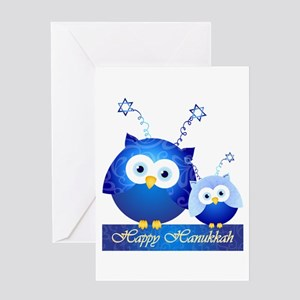 Happy Hanukkah Owls Greeting Cards