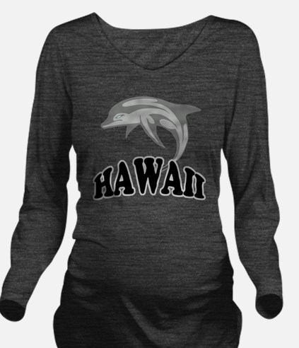Hawaii Dolphin Long Sleeve Maternity T-Shirt