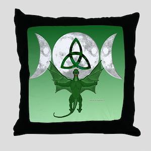 Tri-Moon Dragon Throw Pillow