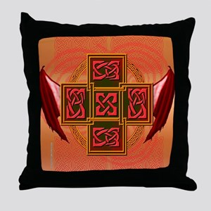Winged Celt Cross Throw Pillow