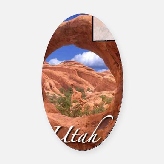UtahMap28 Oval Car Magnet