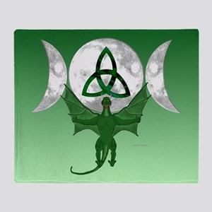 Tri-Moon Dragon Throw Blanket