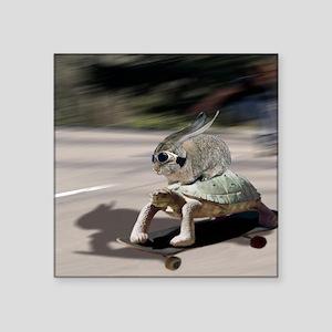 "rabbit tortoise mousemat Square Sticker 3"" x 3"""