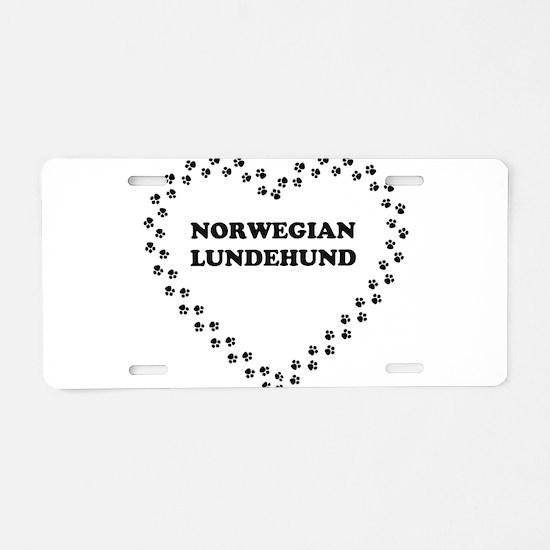 norwegian lundehund name heart Aluminum License Pl