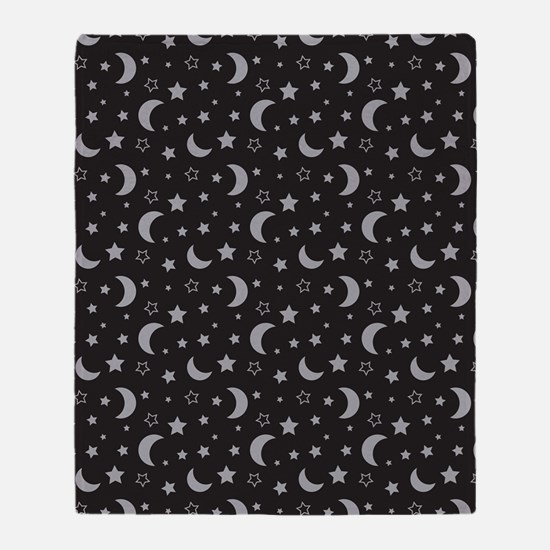 StarsandMoon_Black Throw Blanket
