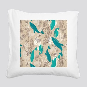 WhaleWaves_TanBlue Square Canvas Pillow