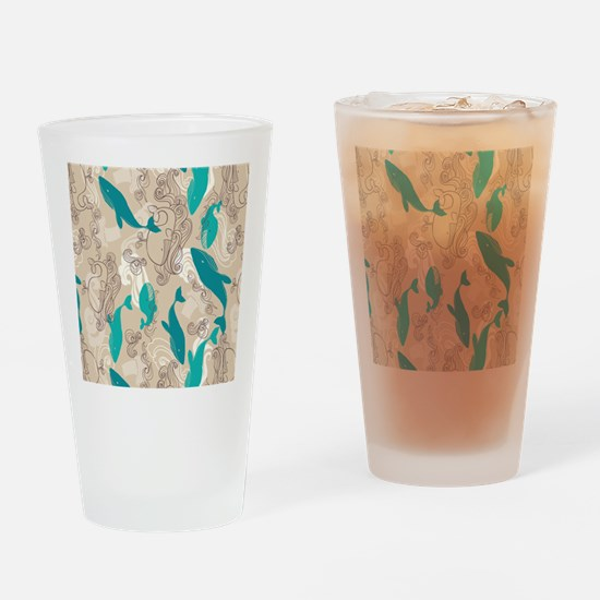 WhaleWaves_TanBlue Drinking Glass