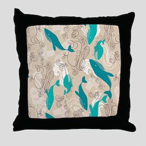 WhaleWaves_TanBlue Throw Pillow