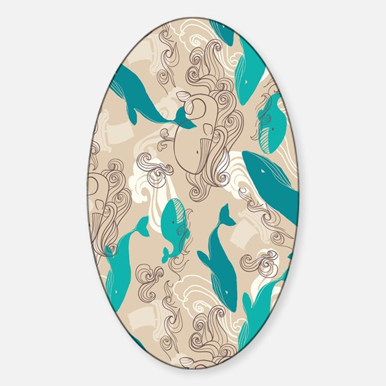 WhaleWaves_TanBlue Sticker (Oval)