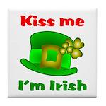 Kiss Me I'm Irish Hat ver2 Tile Coaster