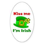 Kiss Me I'm Irish Hat ver2 Oval Sticker