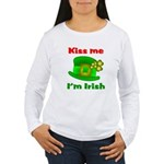 Kiss Me I'm Irish Hat ver2 Women's Long Sleeve T-