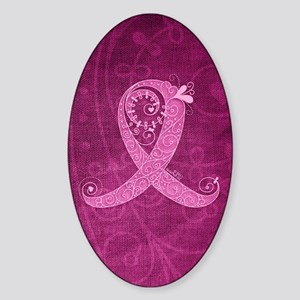kindle_CurlyRibbon_PinkLGT Sticker (Oval)