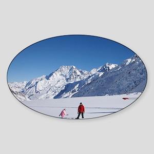 Ski Plane and Tourists on Tasman Gl Sticker (Oval)